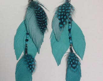 Blue leather feather earrings, leather earrings, feather earrings, long earrings, beaded earrings, boho earrings, bohemian
