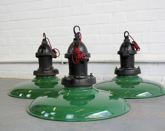 Large Industrial Pendant Lights By Thorlux Circa 1930s