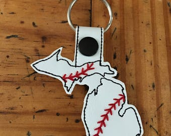 Michigan Baseball/Softball Outline Fob - In The Hoop - Snap/Rivet Key Fob - DIGITAL Embroidery Design