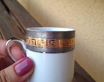 Mini Greek mug, Greek Key Mug, Gold Greek Mini Mug, Mini Cup Greek Key, Greek Mini Cup, Porcelain Mini Cup, Greek Key Mini Mug, Greek Cup