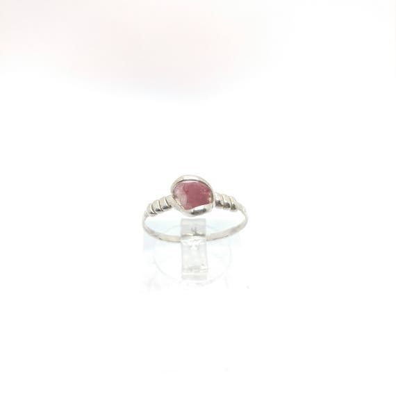 Pink Tourmaline Crystal Ring | Raw Stone Ring | Sterling Silver Ring Sz 7 | Rough Crystal Ring | Raw Crystal Ring | October Birthstone