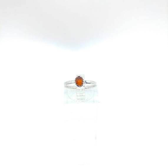 Rose Cut Orange Sapphire Ring | Sterling Silver Ring Sz 6 | Rose Cut Sapphire Ring | Simple Stone Ring | September Birthstone Ring