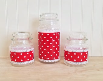 Anchor Hocking Fire King Red Dot Glass Jars Fire King Canisters Red Dot Lace Canisters Red Polka Dot Jars Glass Canisters Fire King Jars