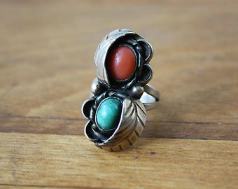 Vintage Turquoise and Coral Sterling Silver Native American Large Ring, Size 5