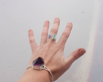 Raw Aquamarine and Rainbow Moonstone ring // size 6  7 // handmade silver jewelry