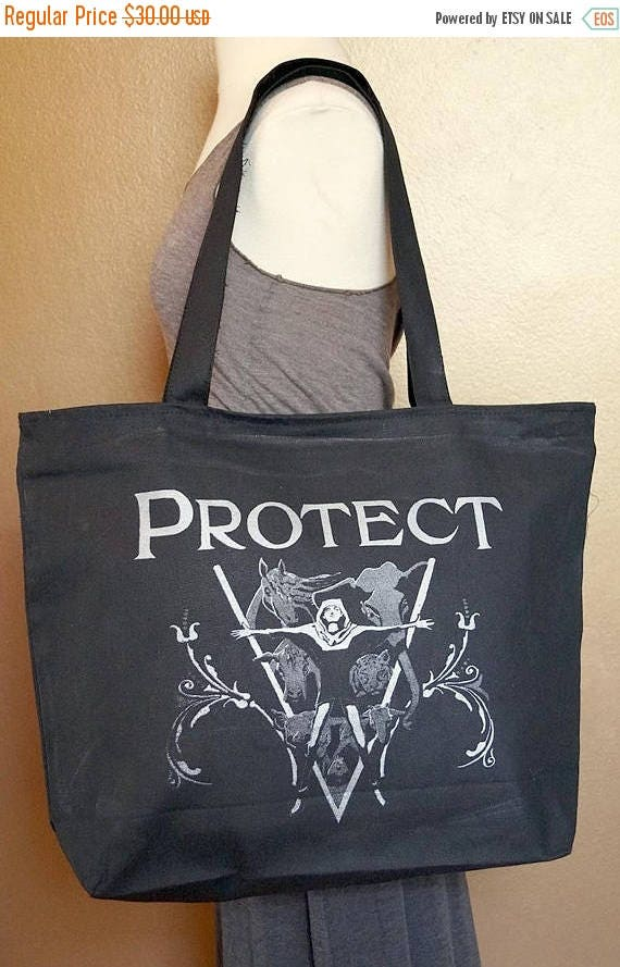 """ON SALE Zippered Tote Bag """"Protect"""" Silver Ink on Black Cotton"""