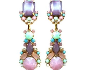 Crystal Pastel Colors Earrings, Colorful crystal earrings, Swarovski crystal earrings