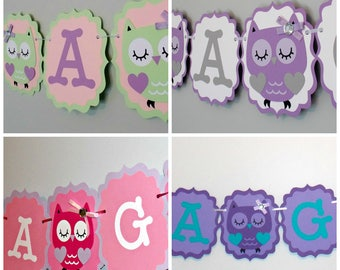Owl Party Banner / It's a Girl Banner/Girl Owl Banner/Baby Shower Owl Banner/Owl Birthday Banner /Mint Green/Purple and teal/Owl Baby Shower