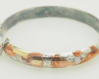 Solid Vintage Sterling Silver/925 Rose and Yellow Gold Plated Floral Hinged Bangle Bracelet; sku # 4884
