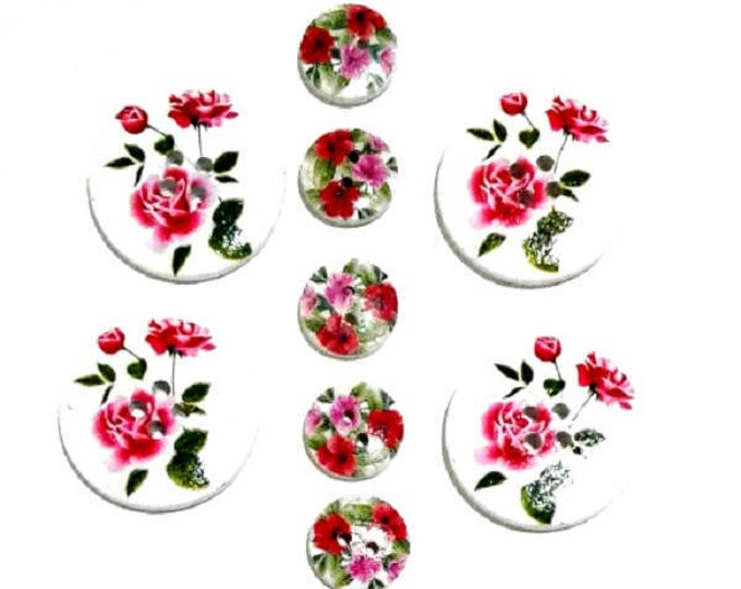 9 Assorted Mixed Buttons featuring Roses