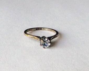 Brass French paste solitaire antique engagement ring Edwardian Art Deco 1920s size 6 Uncas