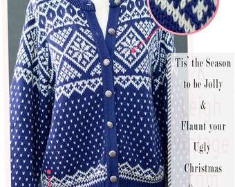 Vintage Woolrich Cardigan Sweater,  Navy Blue Button Up Sweater, Retro Nordic Ski Cardigan, Chunky Knit Sweater, Women's Size Medium