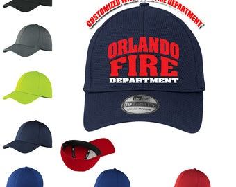 Custom Fire Department Hat, custom back text , Firefighter Flex Fit Hat ~ Fire Dept., rescue, ems, maltese cross, thin red line, cap