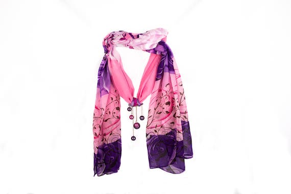 Pink purple floral chiffon shawl necklace with pendant