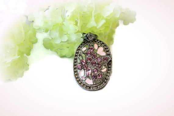Vintage metal pendant with pink Rhinestones and enamel  butterfly
