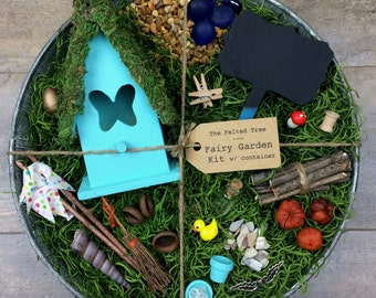 Fairy garden kit with container, DIY, Turquoise, Yellow or Pink Butterfly fairy house, galvanized washtub