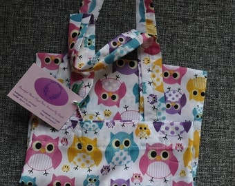 Fabric cotton tote project bag owls