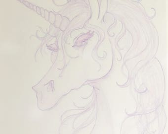 "Purple Unicorn Print ""Lady in Purple"" Inspired by Last Unicorn by Peter Beagle"