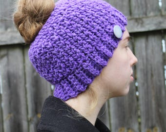 RTS Messy Bun Hat, Purple Ponytail Beanie, Ready to Ship, Button Handmade Crochet Messy Bun Beanie, Knit Pony tail Hat