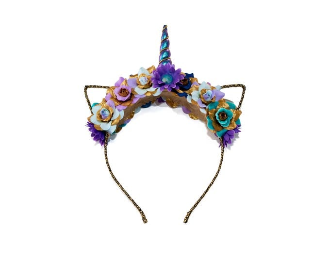Blue Purple Gold Mewnicorn Cat Ear Headband