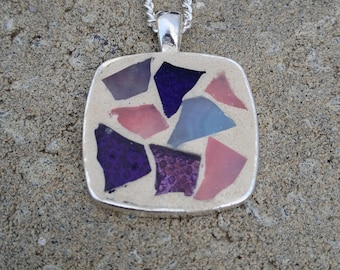 Purple Square Pendant Necklace Stained Glass Pendant Mosaic Purple Necklace Mosaic Necklace Pendant Purple Stained Glass Jewelry Lilac