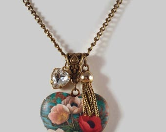 Heart Locket Necklace Flower Locket Necklace Photo Locket Necklace Victorian Heart Locket Necklace Victorian Inspired Jewelry