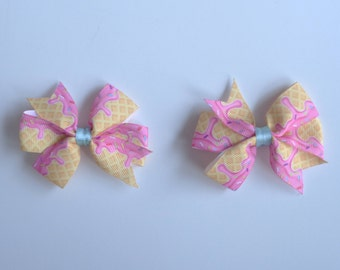 Ice Cream Pigtail Hair Bows