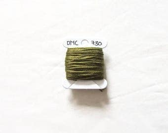 Dark leaf green embroidery thread,  DMC 730, stranded embroidery floss, cross stitch supplies, stranded cotton
