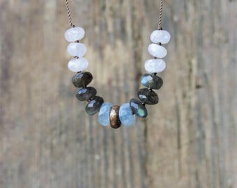 Labradorite moonstone and aquamarine necklace. Aquamarine necklace. Labradorite necklace. Moonstone necklace. Cast bronze.