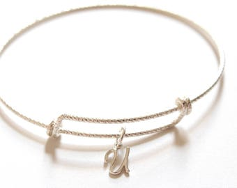 Sterling Silver Bracelet with Sterling Silver Cursive U Charm, Sterling Silver Cursive U Charm Bracelet, Leather U Charm Bracelet, U Charm