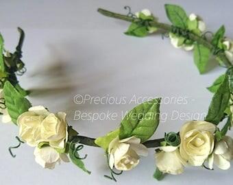 Ivory Flower Floral crown, Ivory Rose Flower Crown, Flower girl flower crown, bridesmaid headpiece, Flower Girl Wreath