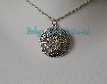Silver Pentagram Yggdrasil Pendant Necklace on Silver Crossed Chain or Black Faux Suede Cord. Wiccan, Pagan, Gothic, Costume