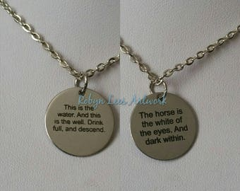 Small Engraved Stainless Steel Twin Peaks This Is The Water Double Sided Disc Necklace on Silver Chain or Black Faux Suede Cord. Woodsman