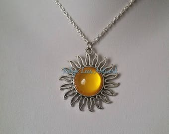 Large Silver Sun or Flower Pendant Necklace with Yellow Glass Cabochon on Silver Crossed Chain or Black Faux Suede Cord. Costume, Summer