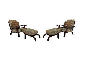 Mid Century Modern Pair of Lounge Armchairs & Ottomans Russell Wright Style
