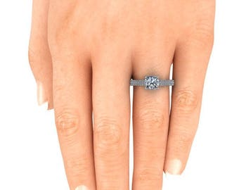 Cushion Cut Engagement Ring Forever One Moissanite White Gold Diamond Alternative Ethical Ring