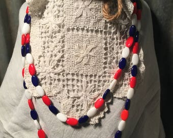 Red, White, & Blue Glass Bead Vintage Necklace