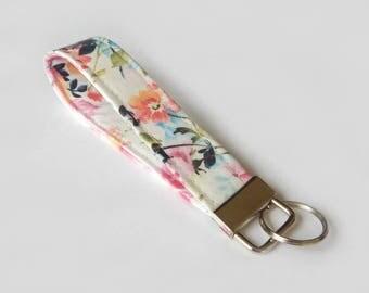 Floral Key Fob / White Floral Keychain / Pretty Key Chain / Wrist Lanyard / Wristlet / Keychain Lanyard / Back to School / Pink  Flowers