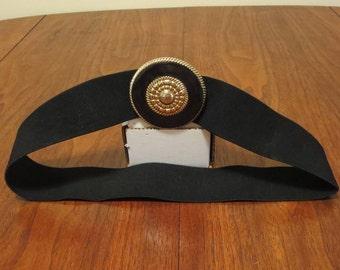 "Vintage 1980s 1990s black elastic cloth belt gold sun medallion buckle 29"" waist (62417)"