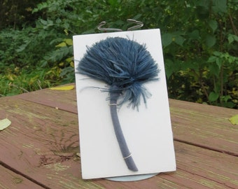 SALE Vintage 1910s 1920s 1900s Teen's WWI era blue feather pom pom pon millinery accent decoration #