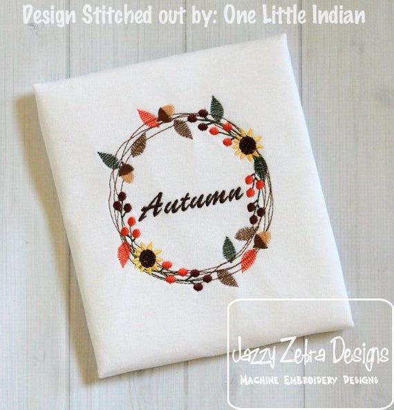 Fall wreath embroidery design - wreath embroidery design - monogram frame embroidery design - fall embroidery design - initial frame