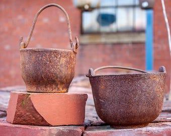 Little Cast Iron Smelting Pots Vintage Industrial Flower Pot