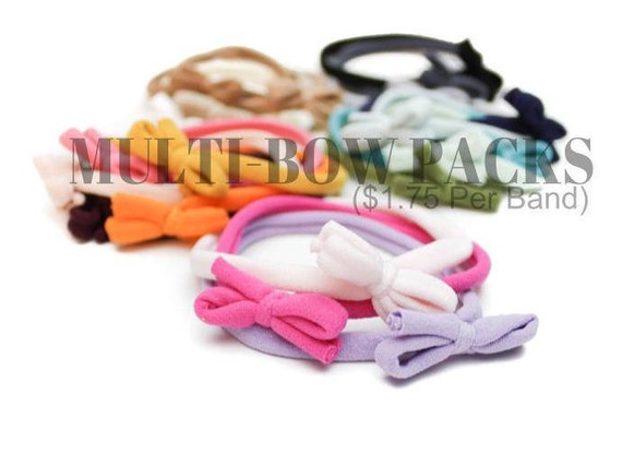 Baby Bow Headband Bulk Discount / Toddler / Newborn Skinny Very Stretchy One Size Fits ALL Nylon / Newborn Headband / Baby Girl Headband