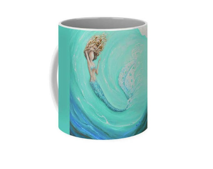 Teal mermaid art mug, little mermaid coffee mug, aqua marine unique mermaid cup, original painting by Nancy Quiaoit