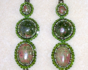 Elegant Unakite earrings with peridot glass beads, olive green and mixed green seed beads