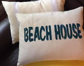 "Stenciled ""Beach House"" 12x16 inch throw pillow"