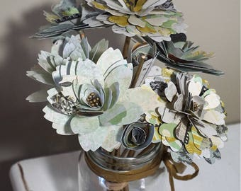 Paper Flower Mason Jar Bouquet - Flowers with Stems in Antique Gold & Green