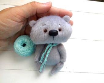 "Ooak 4"" miniature Teddy bear, Blythe friend artist teddy bears miniature teddy bear Blythe friend toy crochet teddy bear ooak teddy bear"