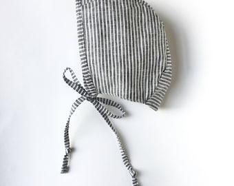 Striped linen baby bonnet handmade sizes up to 2 years