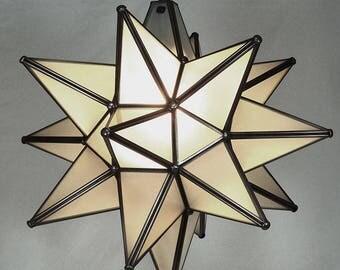 """Moravian Star Pendant Light, Frosted Glass, Dark Frame, 19"""""""